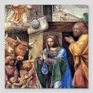 "Nativity and Annunciatio Square Car Magnet 3"" x 3"""