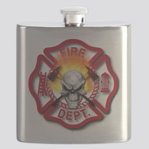Maltese Cross with Skull and Flames Flask