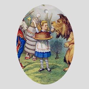 Alice LION  UNICORN_SQ2 copy Oval Ornament