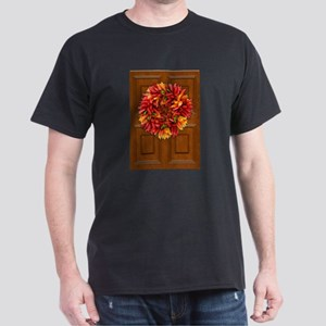 Chili Holiday Wreath on Wooden Door T-Shirt