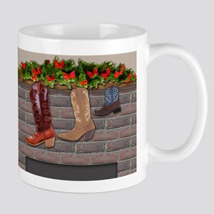 Boot Stockings by the Fireplace background Mugs