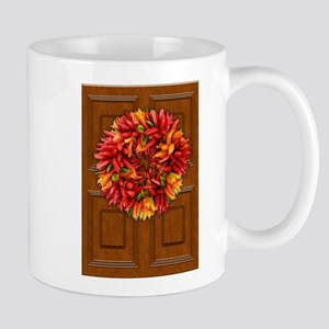 Chili Pepper Holiday Wreath on Wooden Door Mugs