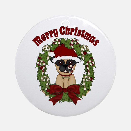 Pug and Candy Cane Wreath Ornament (Round)