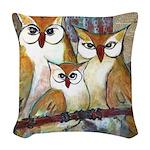 Owl Family Portrait Woven Throw Pillow