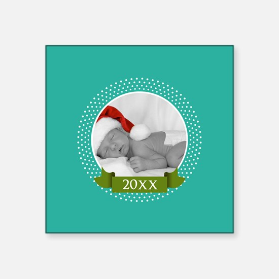 Photo Frame with Year Teal Sticker