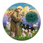 St Francis - 4 Cavaliers Round Car Magnet