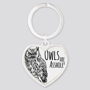 Owls Are Assholes Heart Keychain
