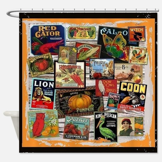 Crate Labels Shower Curtain