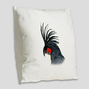 Palm Cockatoo Burlap Throw Pillow