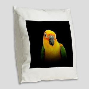 Jenday Conure 2 Burlap Throw Pillow