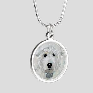 Tarheel Santa Silver Round Necklace
