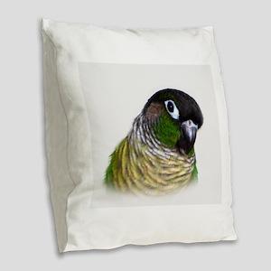 Green Cheek Conure Burlap Throw Pillow