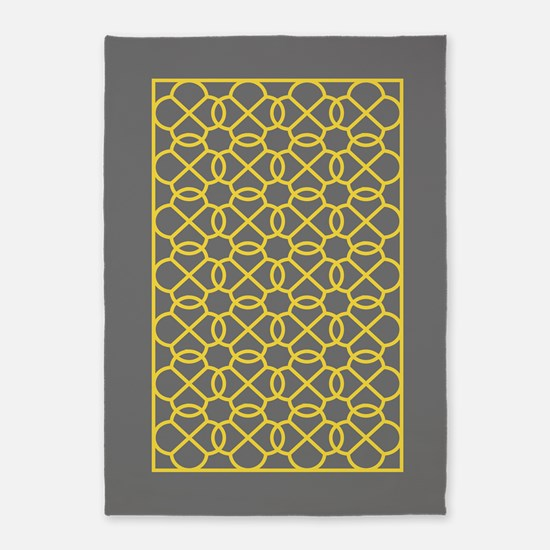 gray yellow geometric pattern 5'x7'Area Rug