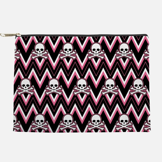 Gothic Pink Skull Chevron Pattern Makeup Pouch