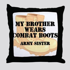 Army Sister Brother Desert Combat Boots Throw Pill