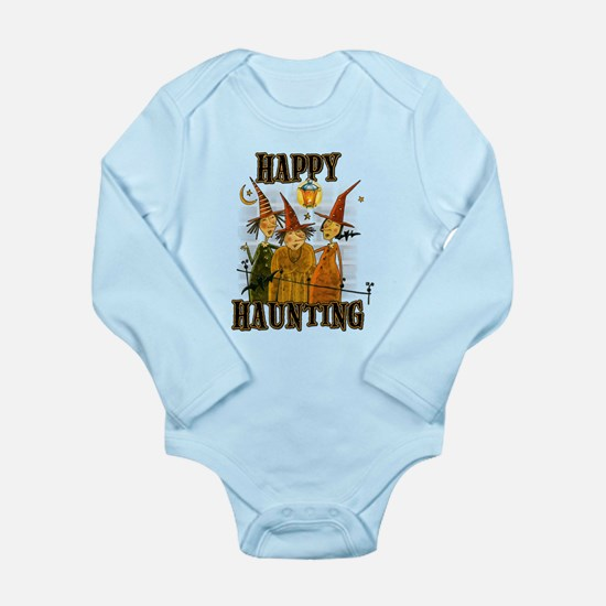 Happy Haunting 3 Witch Long Sleeve Infant Bodysuit