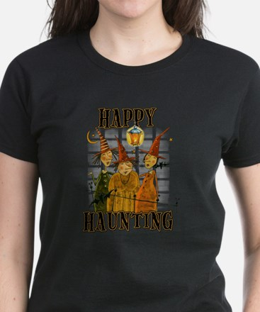 Happy Haunting 3 Witches Women's Dark T-Shirt