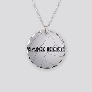 Personalized Volleyball Player Necklace Circle Cha