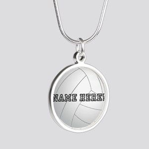 Personalized Volleyball Player Silver Round Neckla