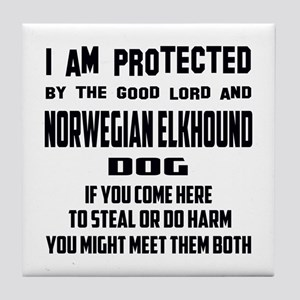 I am protected by the good lord and N Tile Coaster