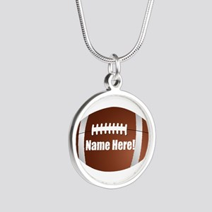 Personalized Football Silver Round Necklace