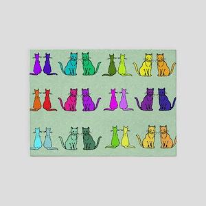 Rainbow Of Cats 5'x7'Area Rug