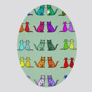 Rainbow Of Cats Ornament (Oval)