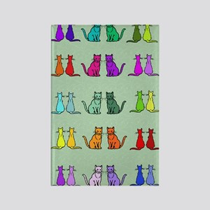 Rainbow Of Cats Rectangle Magnet