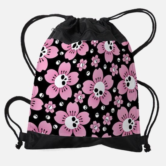 Skull Pink Blossoms Drawstring Bag