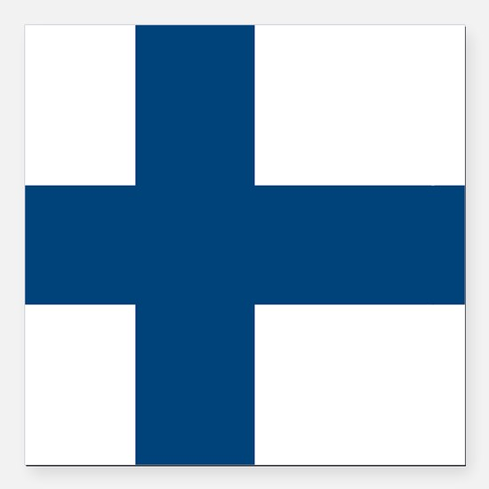 "Finnish Flag Square Car Magnet 3"" x 3"""