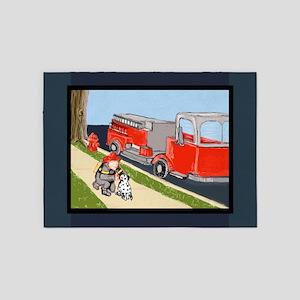 Fire Engine, Fireman, Dalmatian 5x7 feet 5'x7'Area