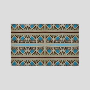 Turquoise Grey Southwestern Pattern 3'x5' Area Rug