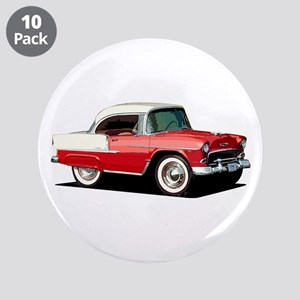 "BabyAmericanMuscleCar_55BelR_Xmas_Red 3.5"" Button"