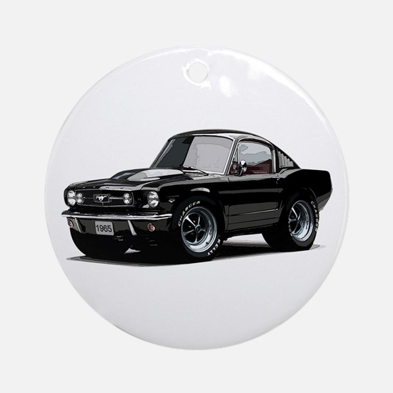 abyAmericanMuscleCar_65_mstg_Xmas_Black Ornament (