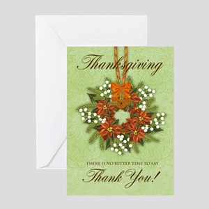 Thanksgiving Wreath With Flowers Greeting Card