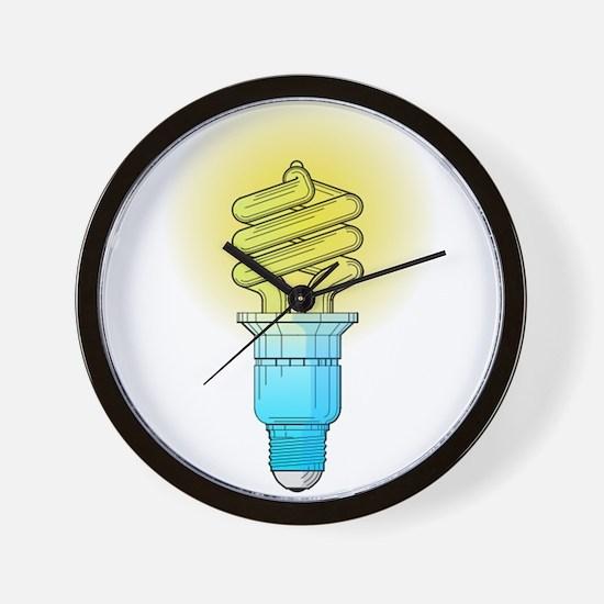 Fluorescent Light Bulb Wall Clock
