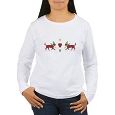 Cute Patchwork Christmas Dogs Long Sleeve T-Shirt