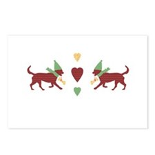 Cute Patchwork Christmas Dogs Postcards (Package o