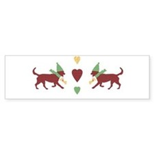 Cute Patchwork Christmas Dogs Bumper Sticker