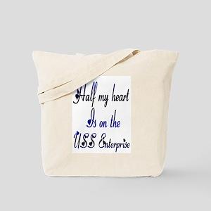 half my uss enterprise Tote Bag