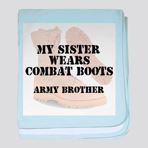 Army Brother Sister wears DCB baby blanket