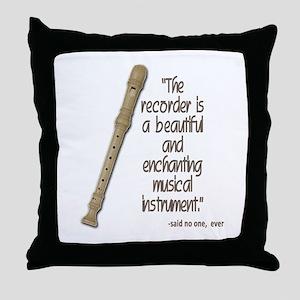 The recorder Throw Pillow