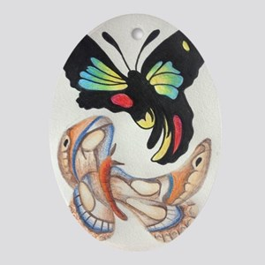 Twisted Butterflys Oval Ornament