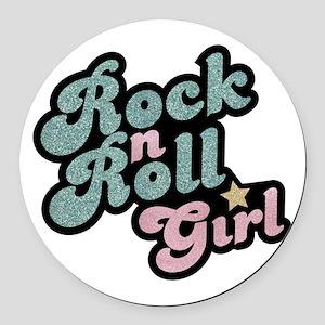 Rock N Roll Girl Round Car Magnet