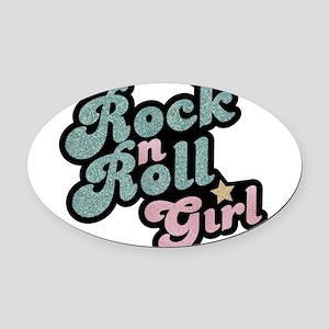 Rock N Roll Girl Oval Car Magnet