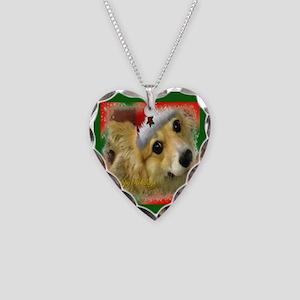 Christmas Corgi Necklace Heart Charm