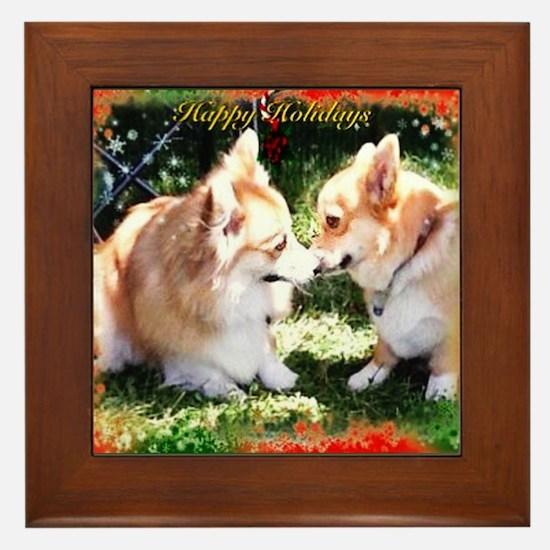 Happy Holiday Corgis Framed Tile
