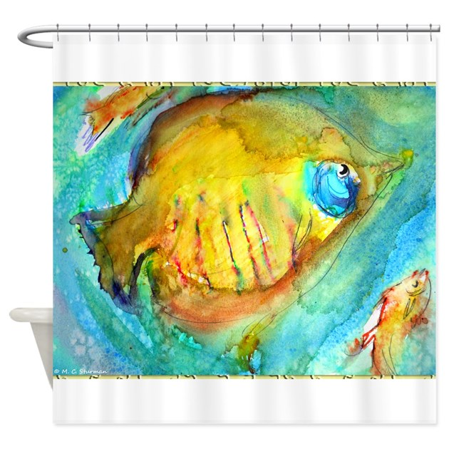 Fish colorful tropical fish art shower curtain by for Tropical fish shower curtain