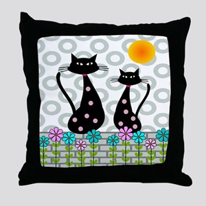 Whimsical Cats 4 Throw Pillow