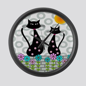 Whimsical Cats 4 Large Wall Clock